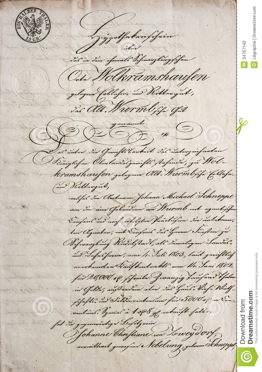 Handwritten Text Antique Manuscript Vintage Letter Stock