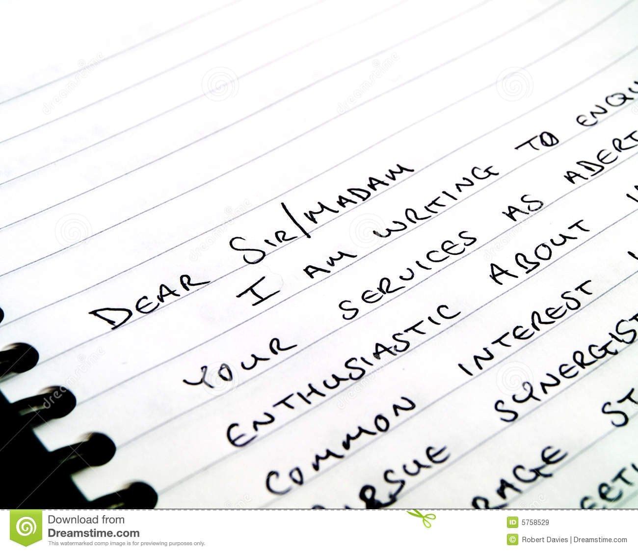 Handwritten Writing A Letter On Lined Paper Royalty Free