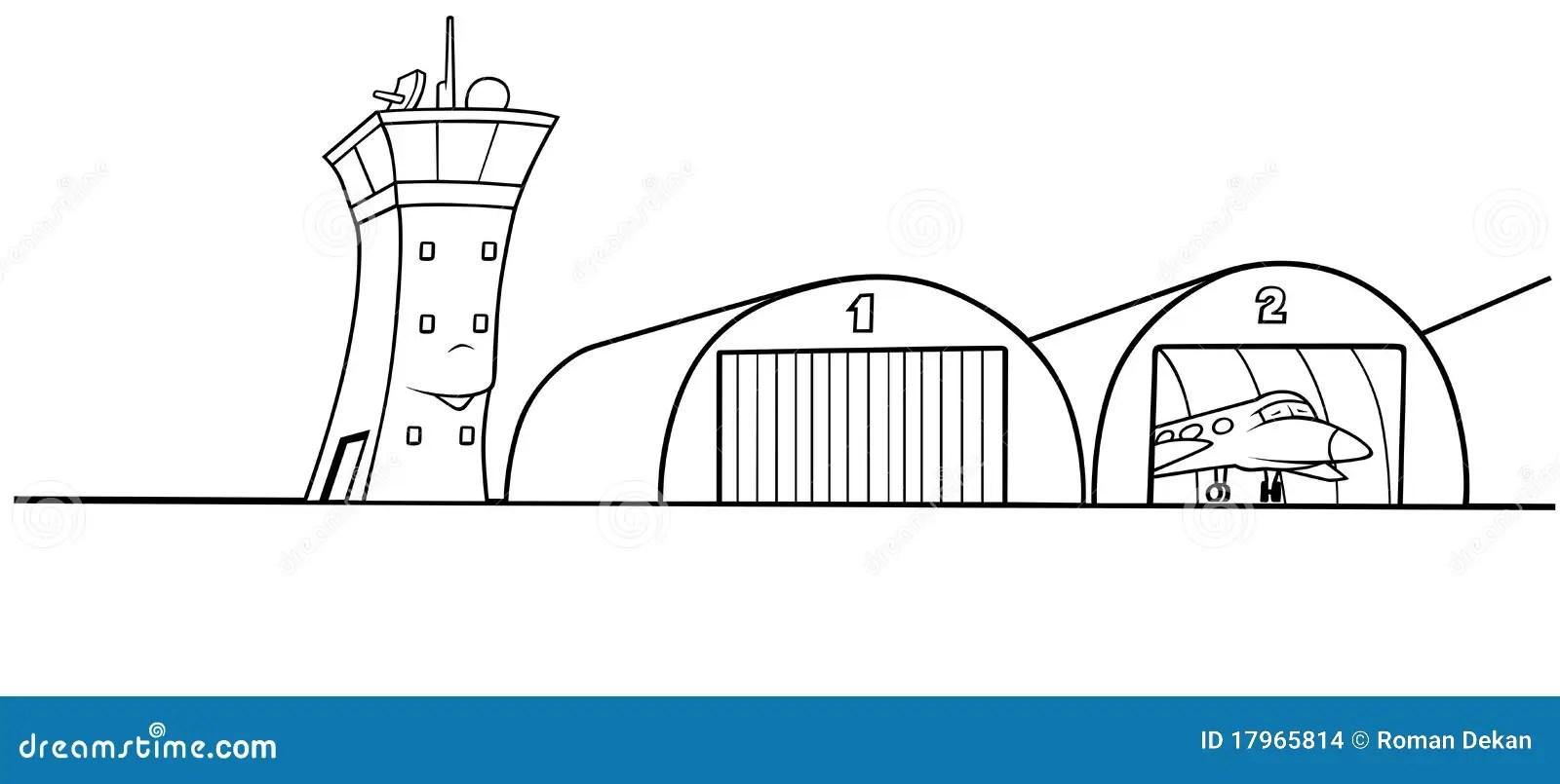 Hangar do aeroporto ilustração do vetor. Ilustração de
