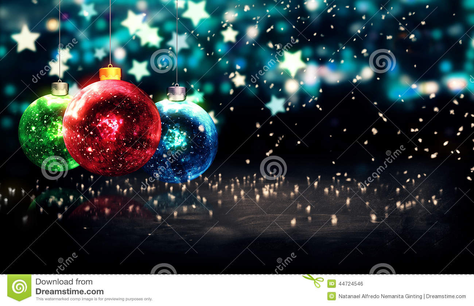 Hanging Baubles Christmas Blue Star Night Bokeh Beautiful
