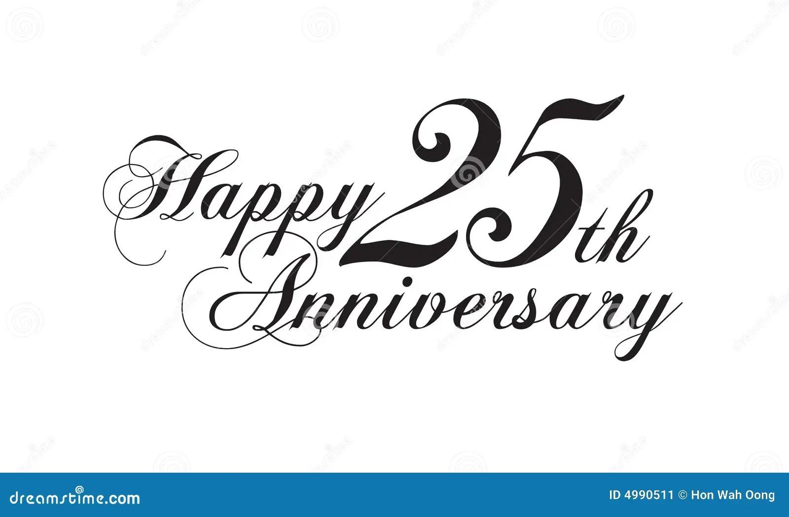 Happy 25th anniversary stock illustration. Illustration of