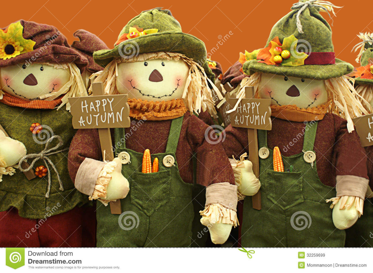 Cartoon Fall Wallpaper Happy Autumn Is Wished By Row Of Scarecrows Stock Image