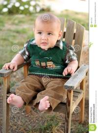 Happy Baby Boy On Wood Lawn Chair Stock Image - Image ...