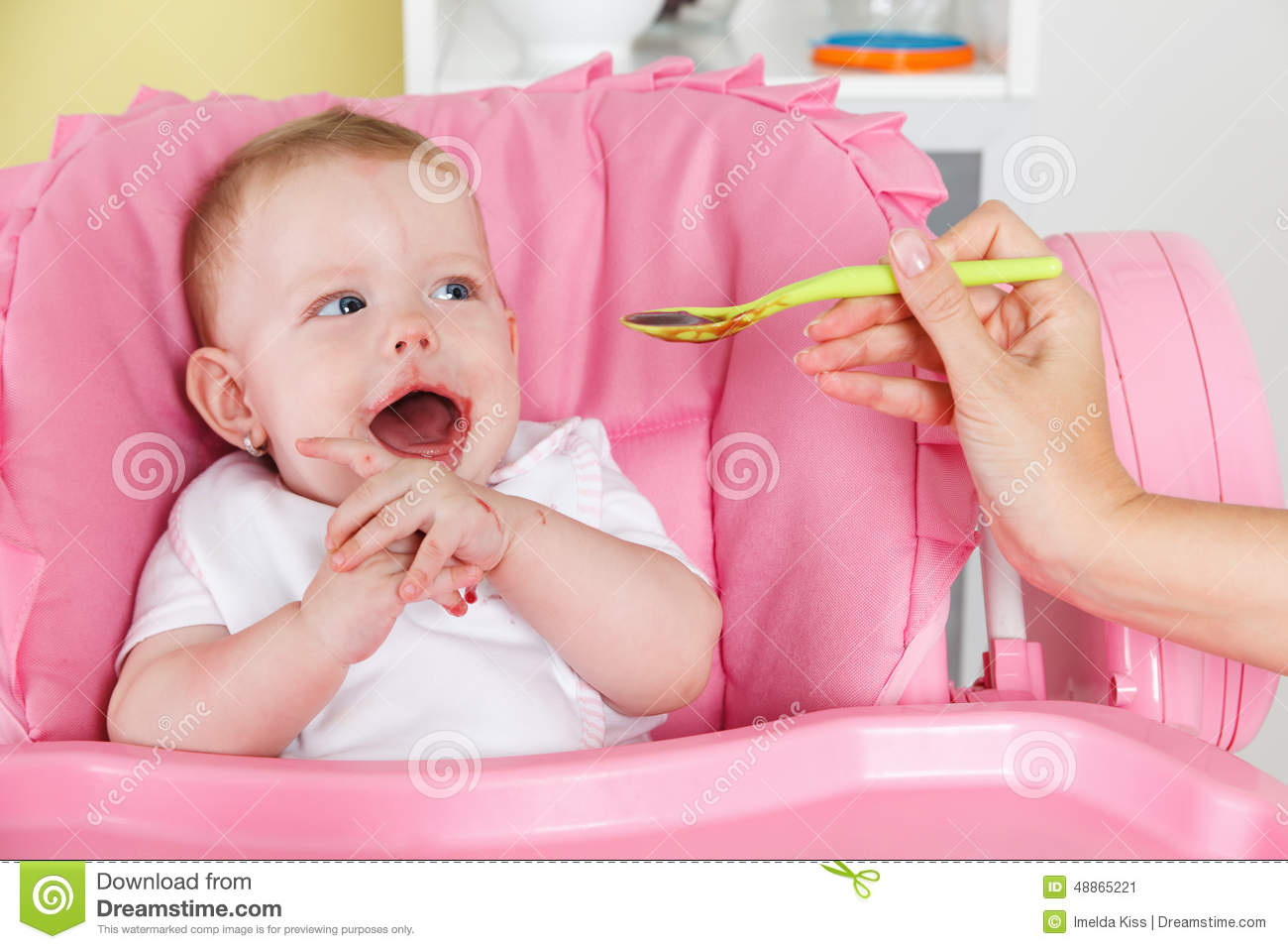 Baby Food Chair Happy Baby Eating Stock Image Image Of High Food Chair