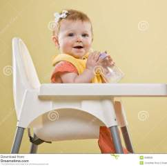 Baby Sitting Chair India Folding Kmart Happy Girl In Highchair Stock Image