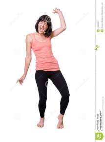 Happy Barefoot Young Woman Dancing Stock - Of