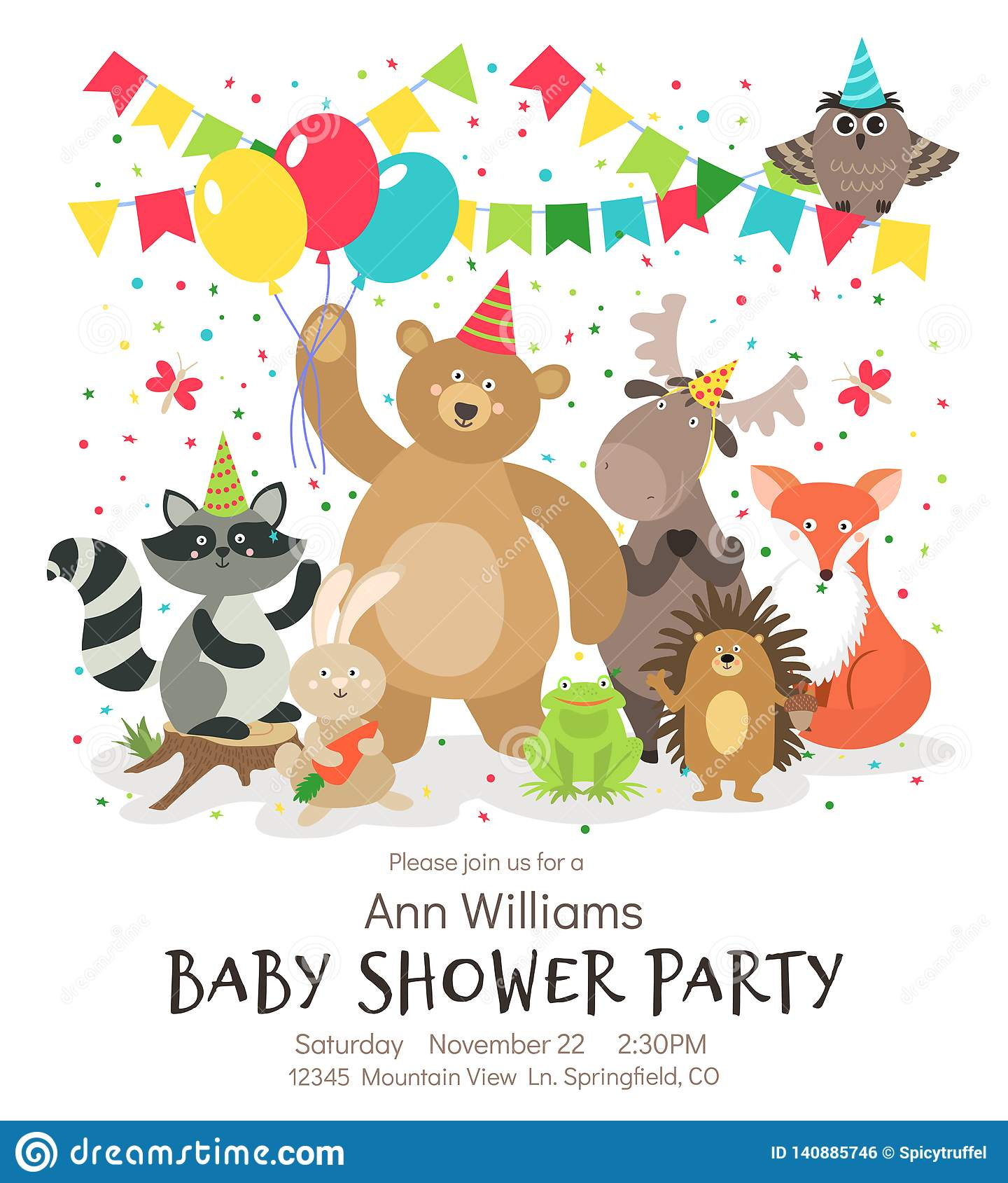 https www dreamstime com happy birthday animals poster woodland forest animal baby shower kids invitation vintage vector card designs image140885746