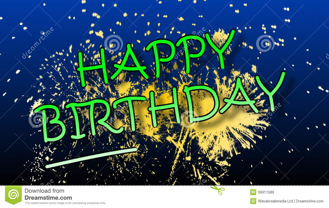 hight resolution of happy birthday animation with fireworks stock video video of vector congratulation 39911589