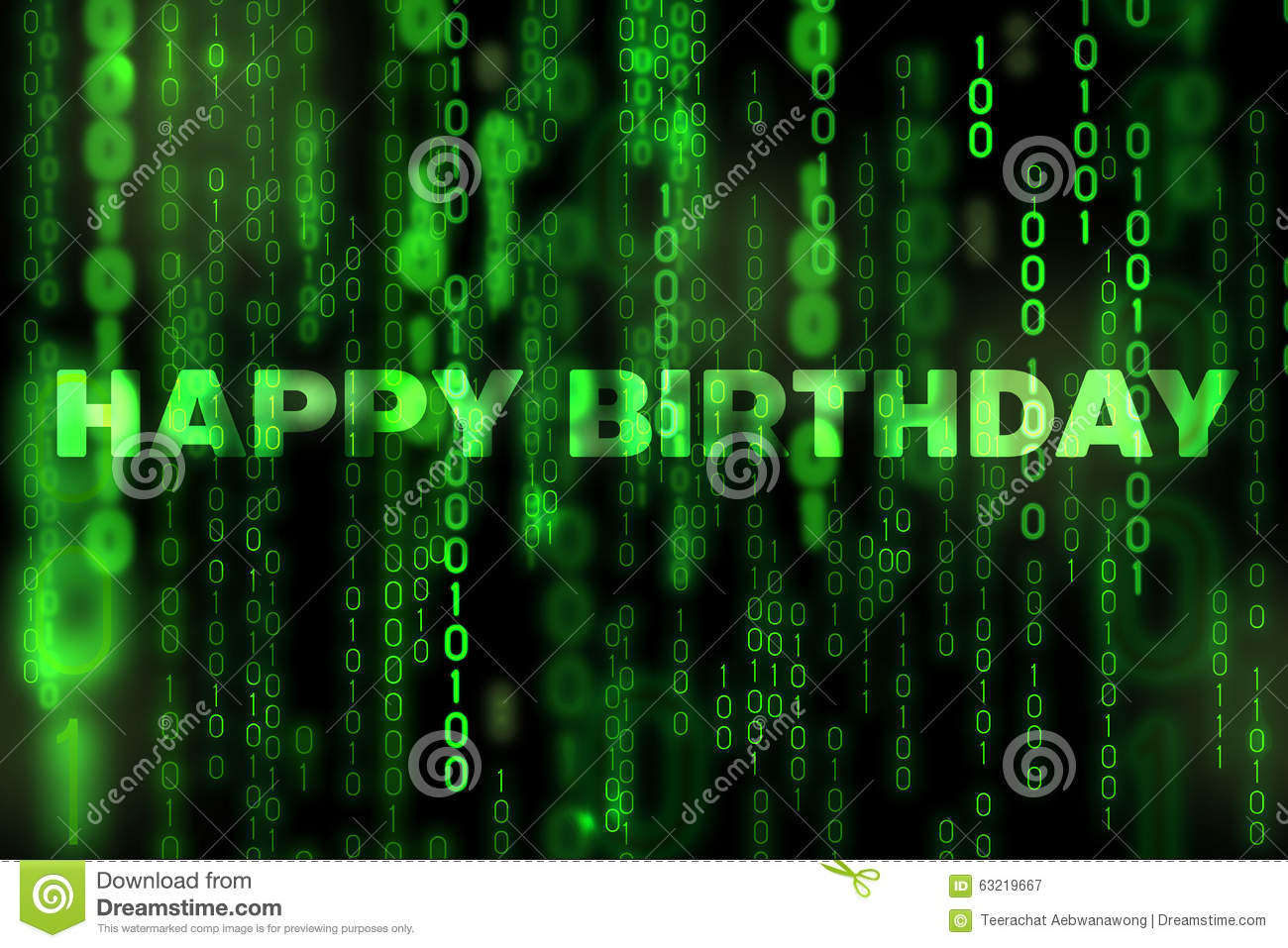 Happy Birthday Background Binary Texture Matrix Theme