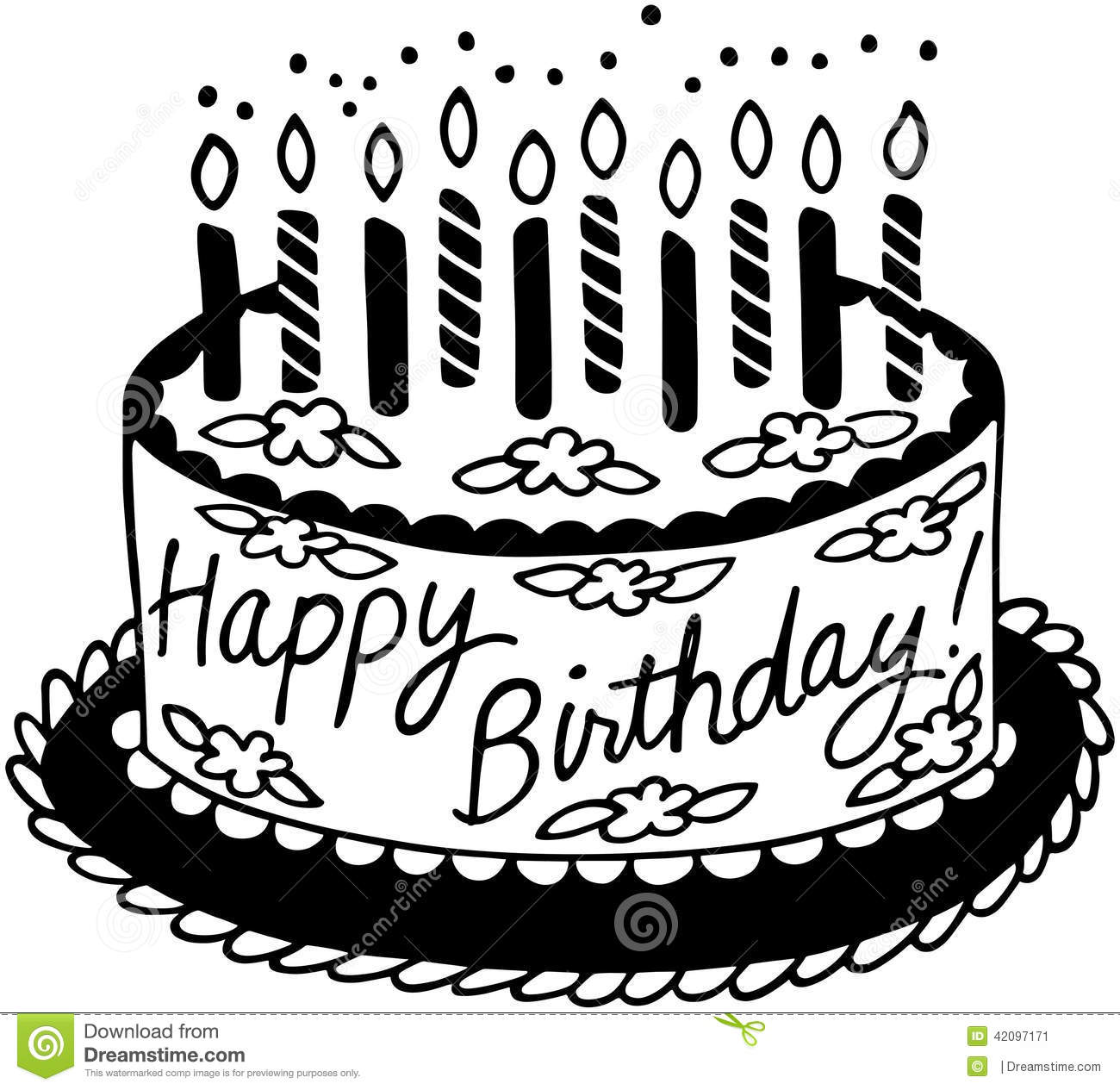 Happy Birthday Cake Stock Vector Illustration Of Sweets