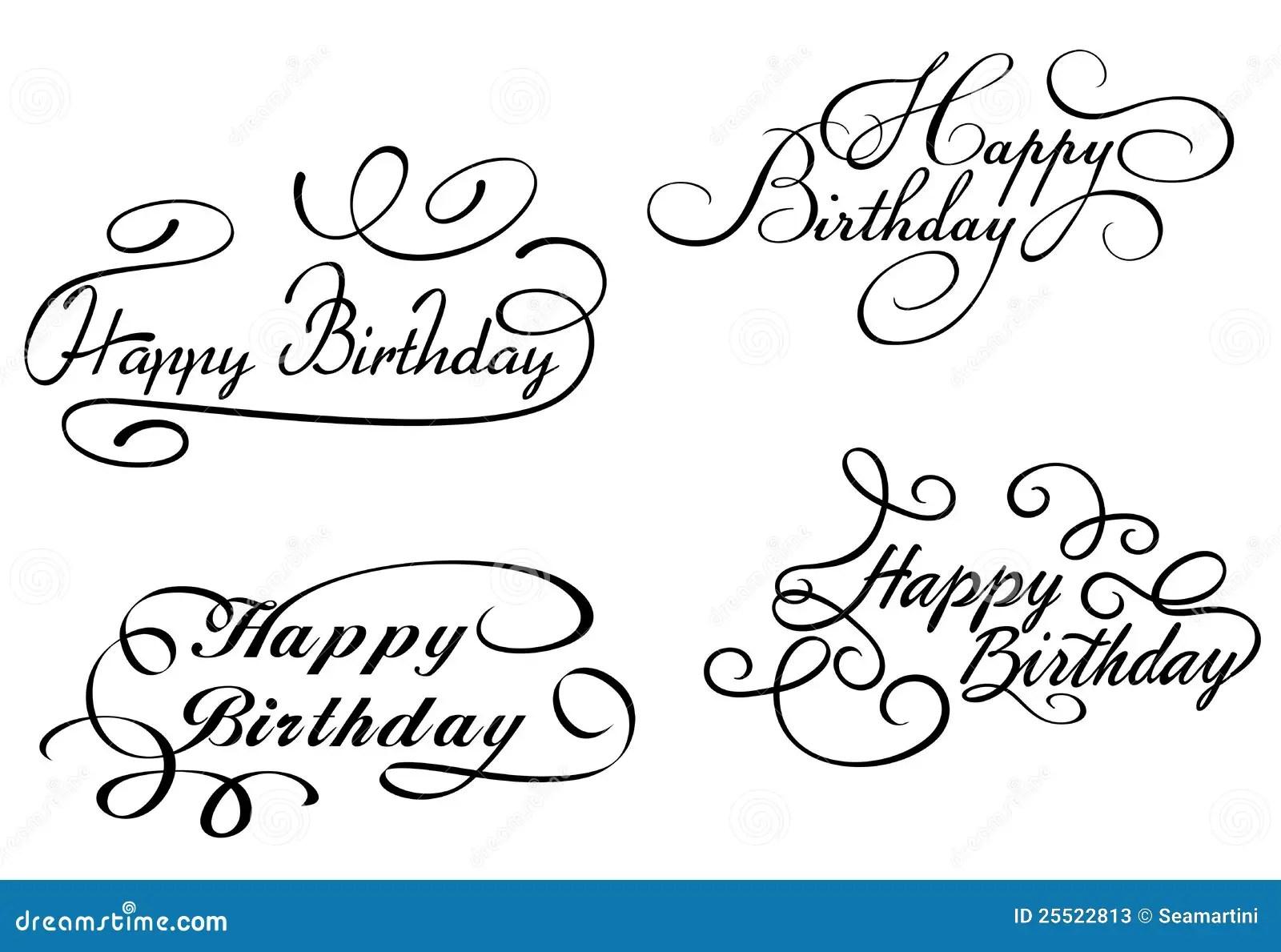 hight resolution of happy birthday calligraphic