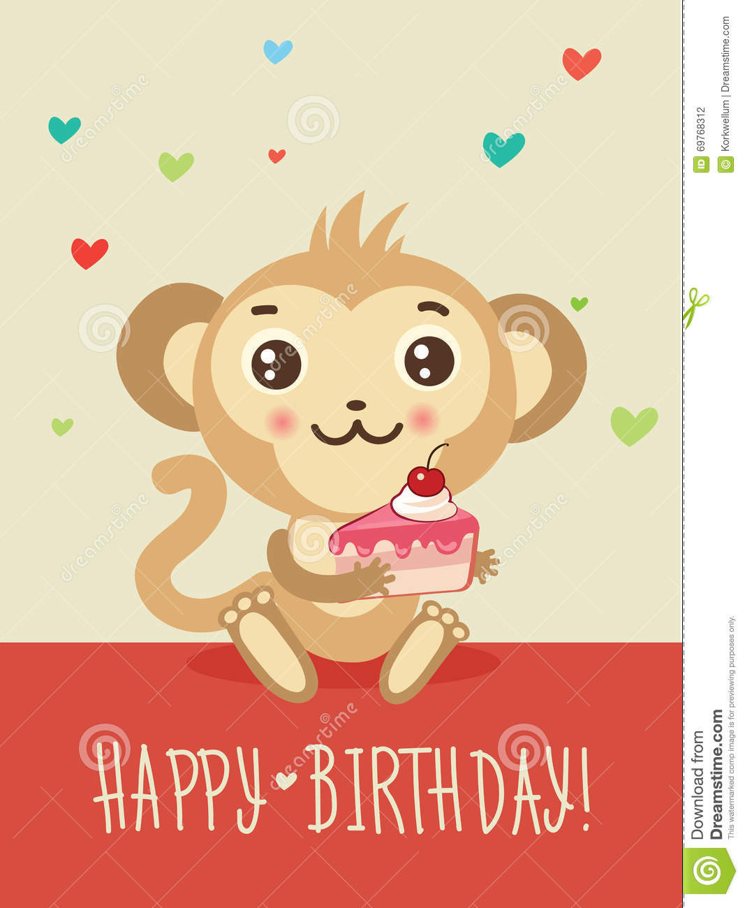 Happy Birthday Card With Funny Monkey And Cake In His
