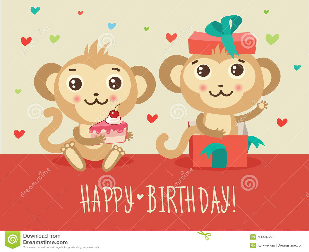 Happy Birthday Card With Two Funny Monkey Cake And Gift
