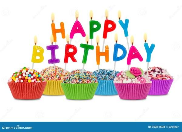 Happy Birthday Cupcakes Stock Of Isolated - 35361608