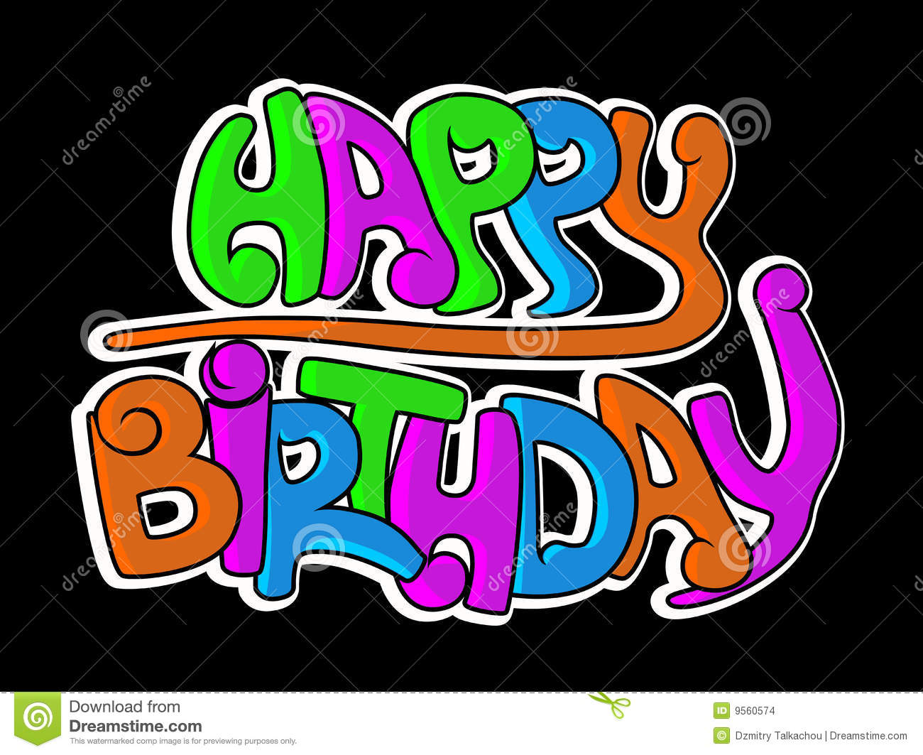 Happy Birthday Graffiti Stock Images  Image 9560574