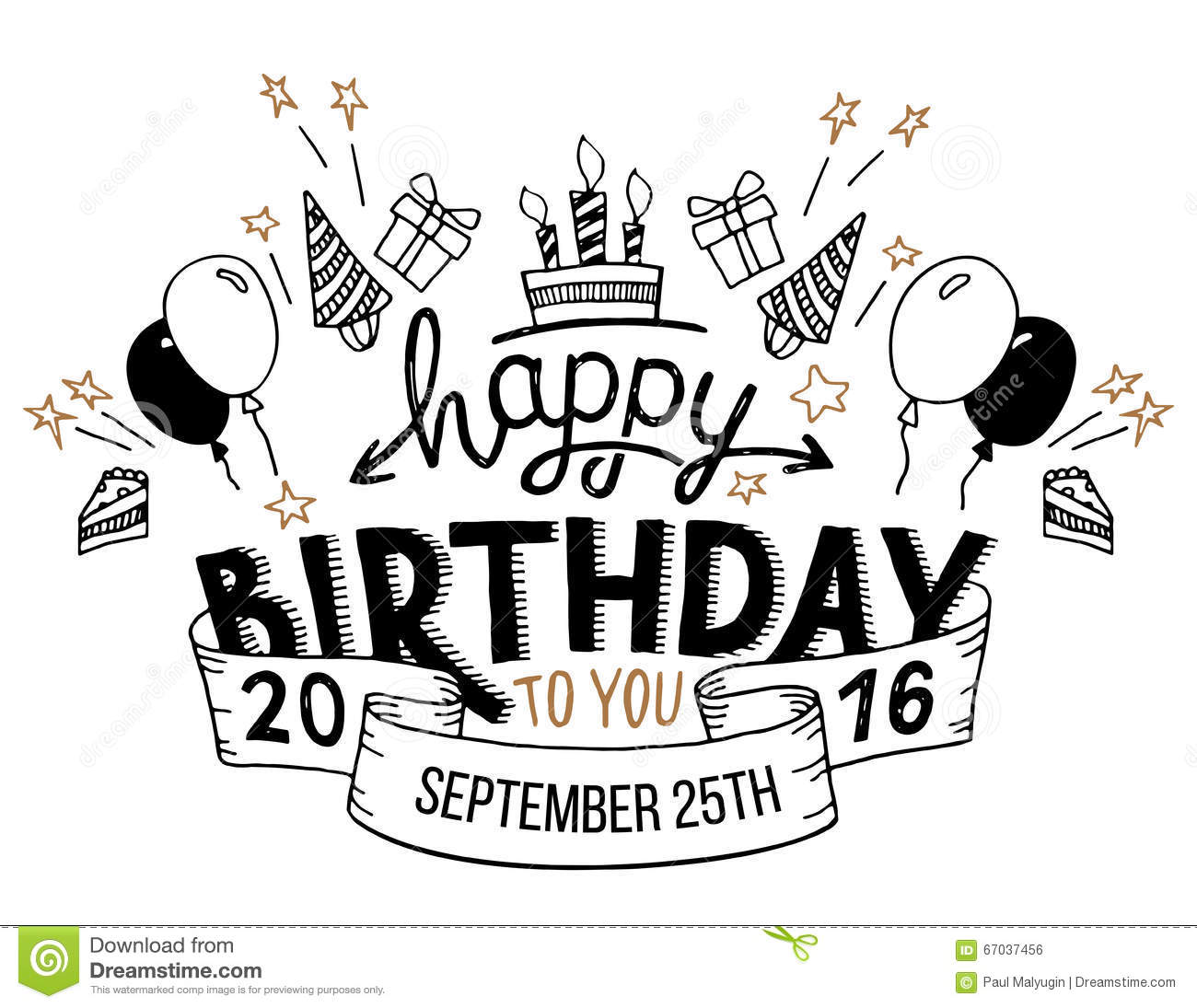 Happy Birthday Greeting Card Hand Lettering Stock Vector