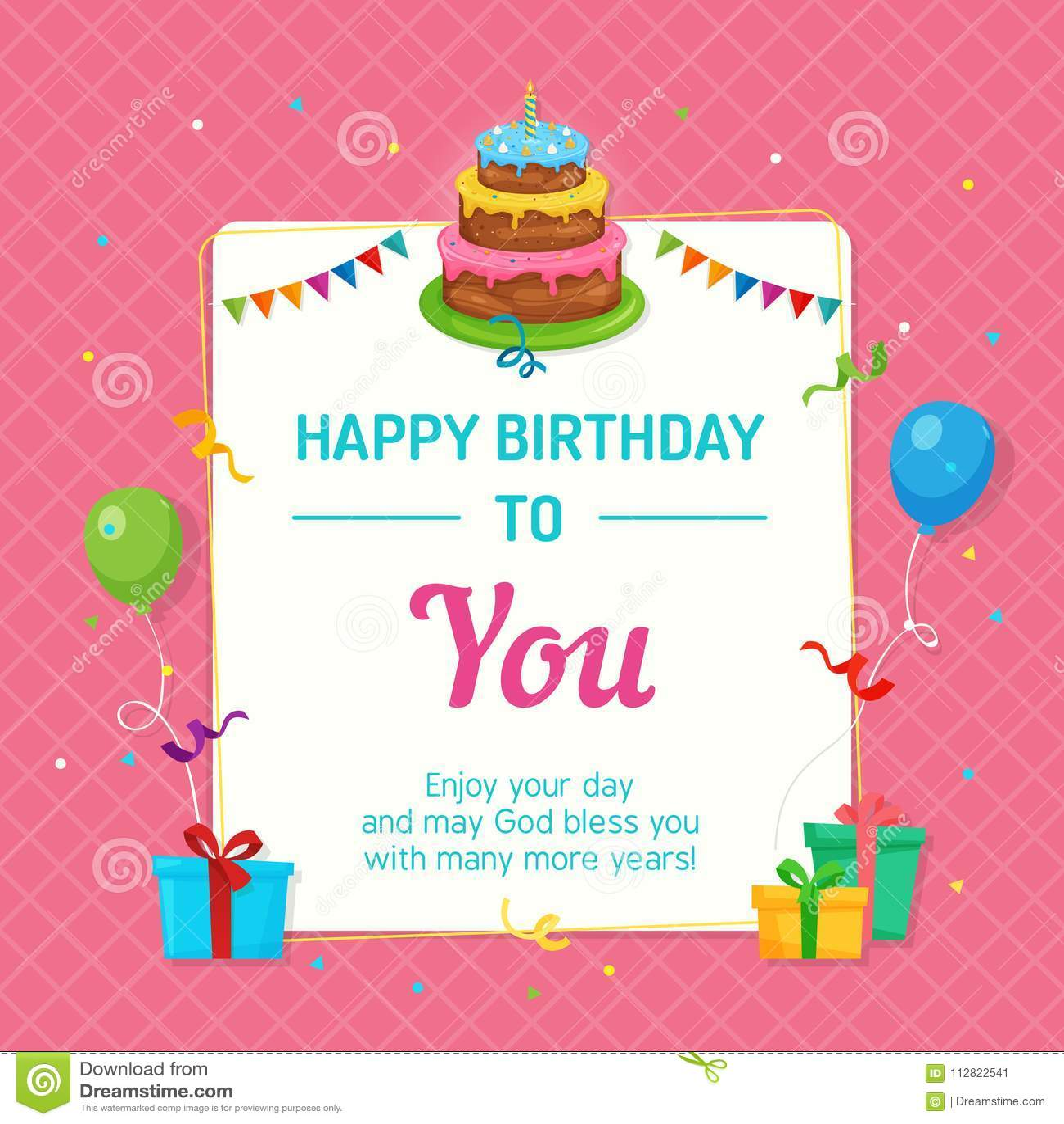 https www dreamstime com happy birthday invitation card template birthday cake party decoration happy birthday invitation card template image112822541
