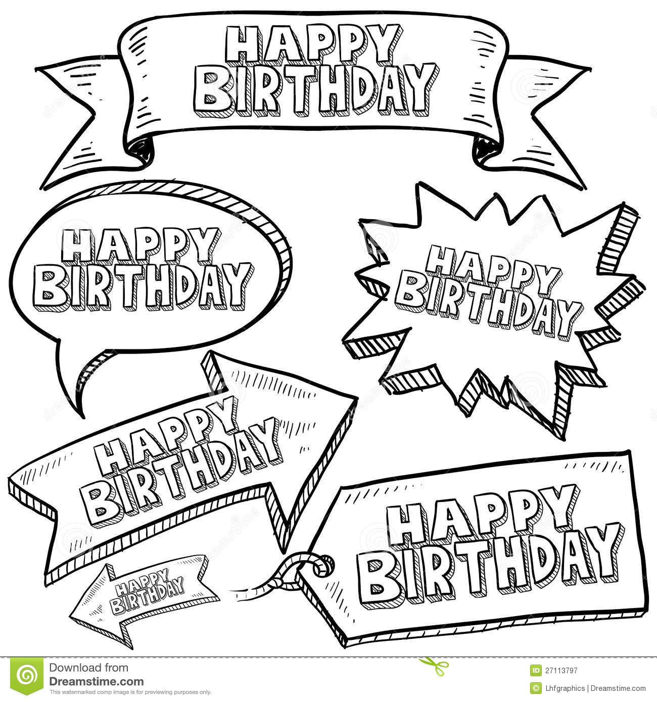 Happy Birthday Labels And Banners Royalty Free Stock