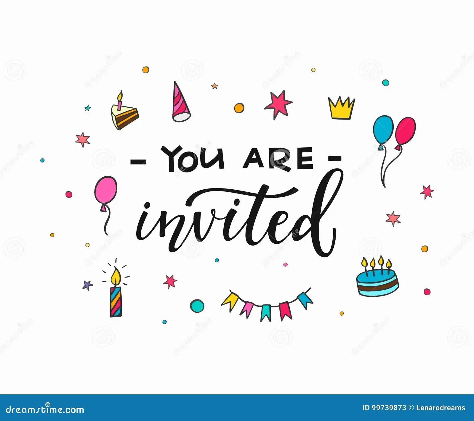 Happy Birthday Party Lettering Typography Stock