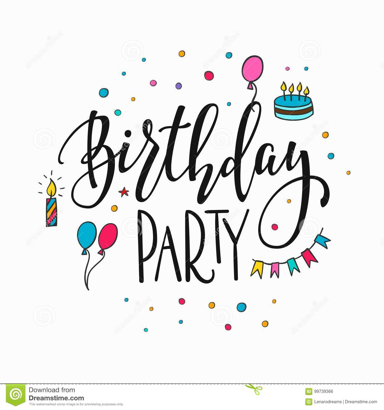 Happy Birthday Party Lettering Typography Stock