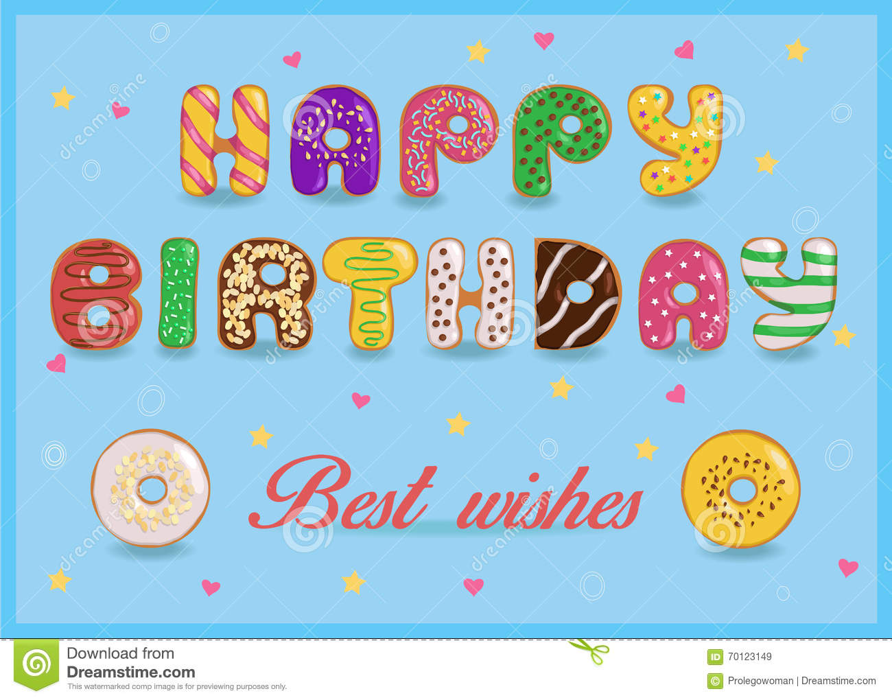 Happy Birthday Sweet Colorful Donuts Font Stock Vector