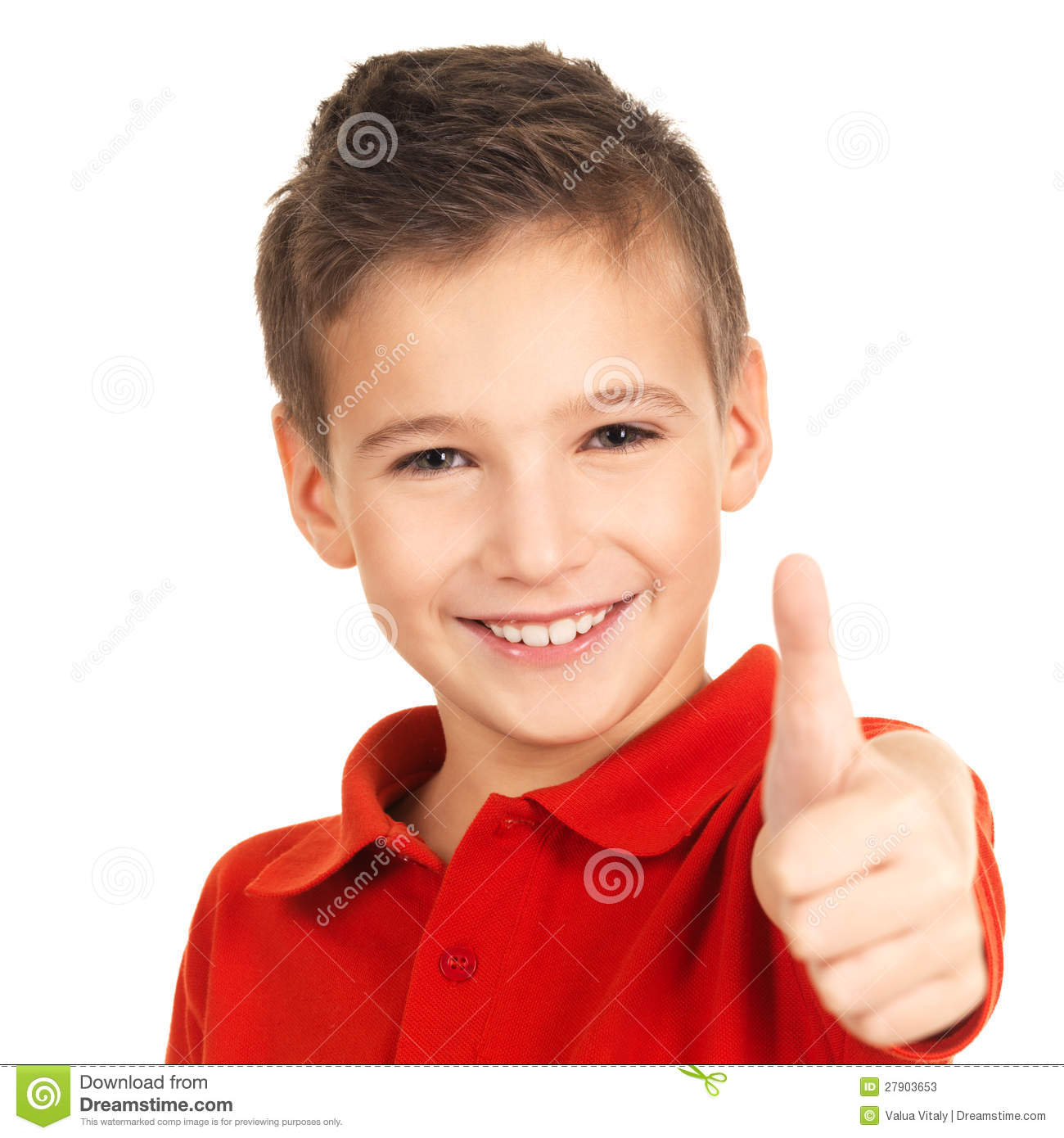 Happy Boy Showing Thumbs Up Gesture Stock Photos Image
