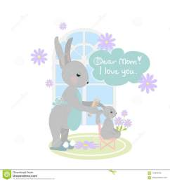 happy mom and bunny clipart mothers love cute vector illustration [ 1300 x 1390 Pixel ]