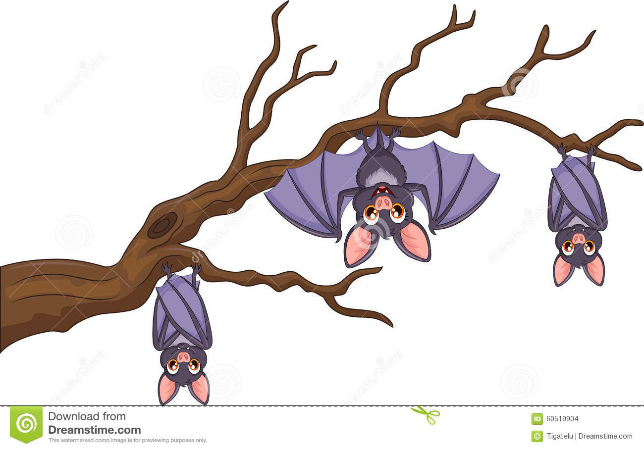 Happy Cartoon Bat Hanging On Tree Stock Vector  Image