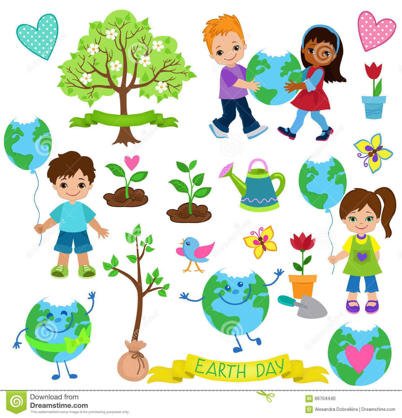 Happy Children Celebrate Earth Dayology Elements Stock