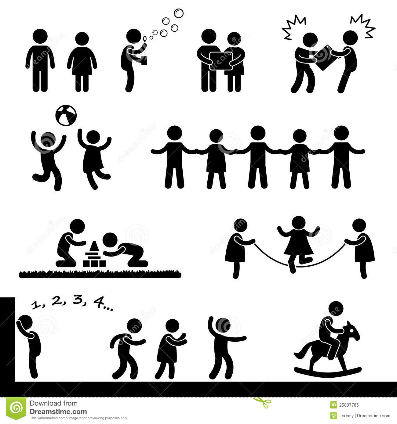 Happy Children Playing Pictogram Royalty Free Stock Photo