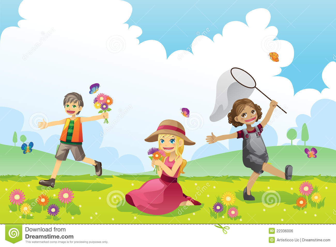 Cute Toddlers Playing Cartoon Wallpaper Happy Children In Spring Season Stock Vector Image 22336006