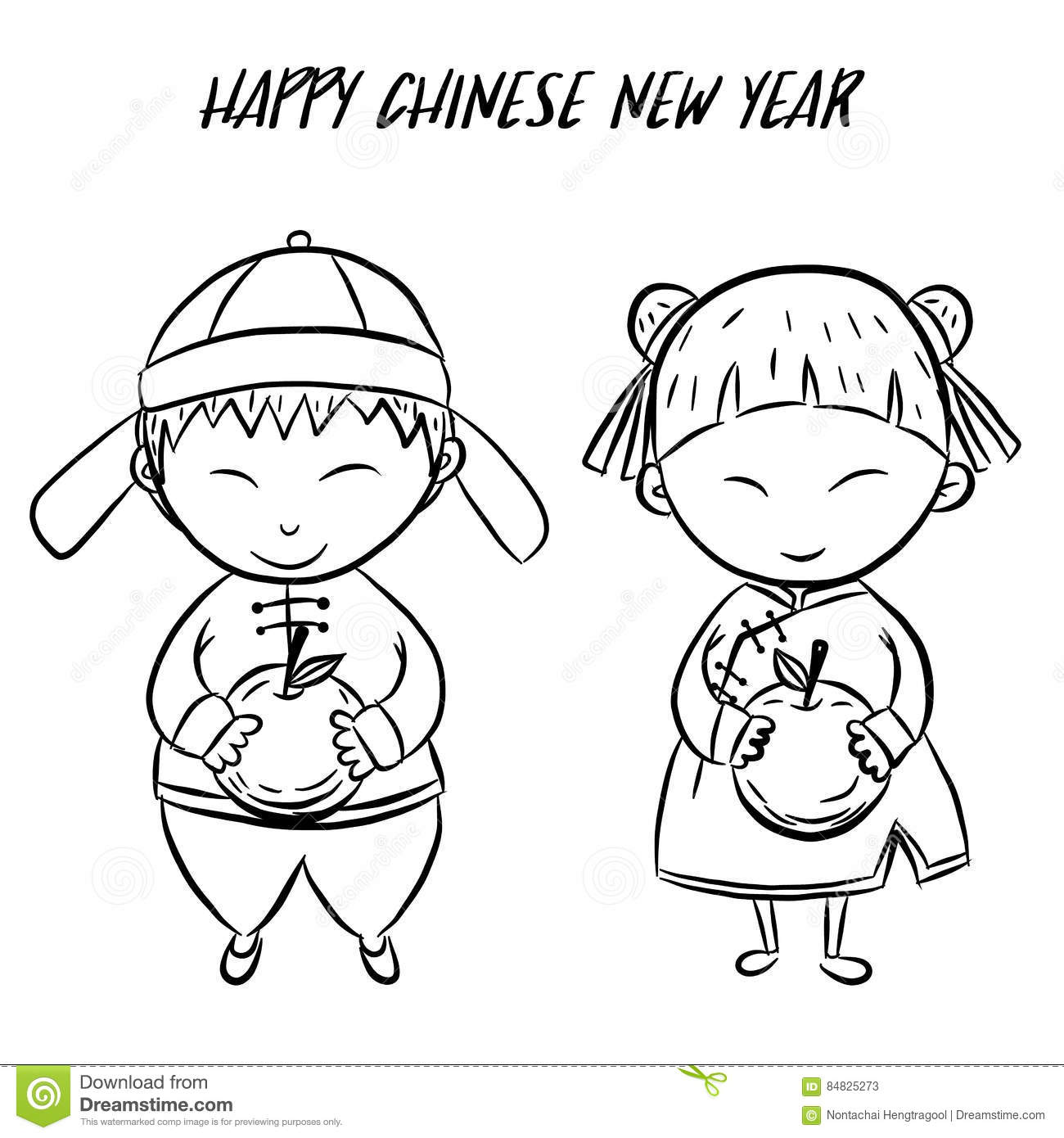 Happy Chinese New Year By Hand Drawing Stock Vector