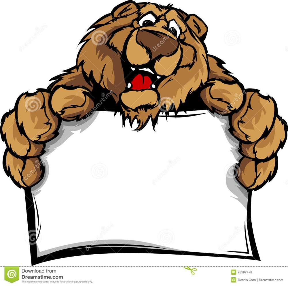 medium resolution of happy cute bear mascot holding sign
