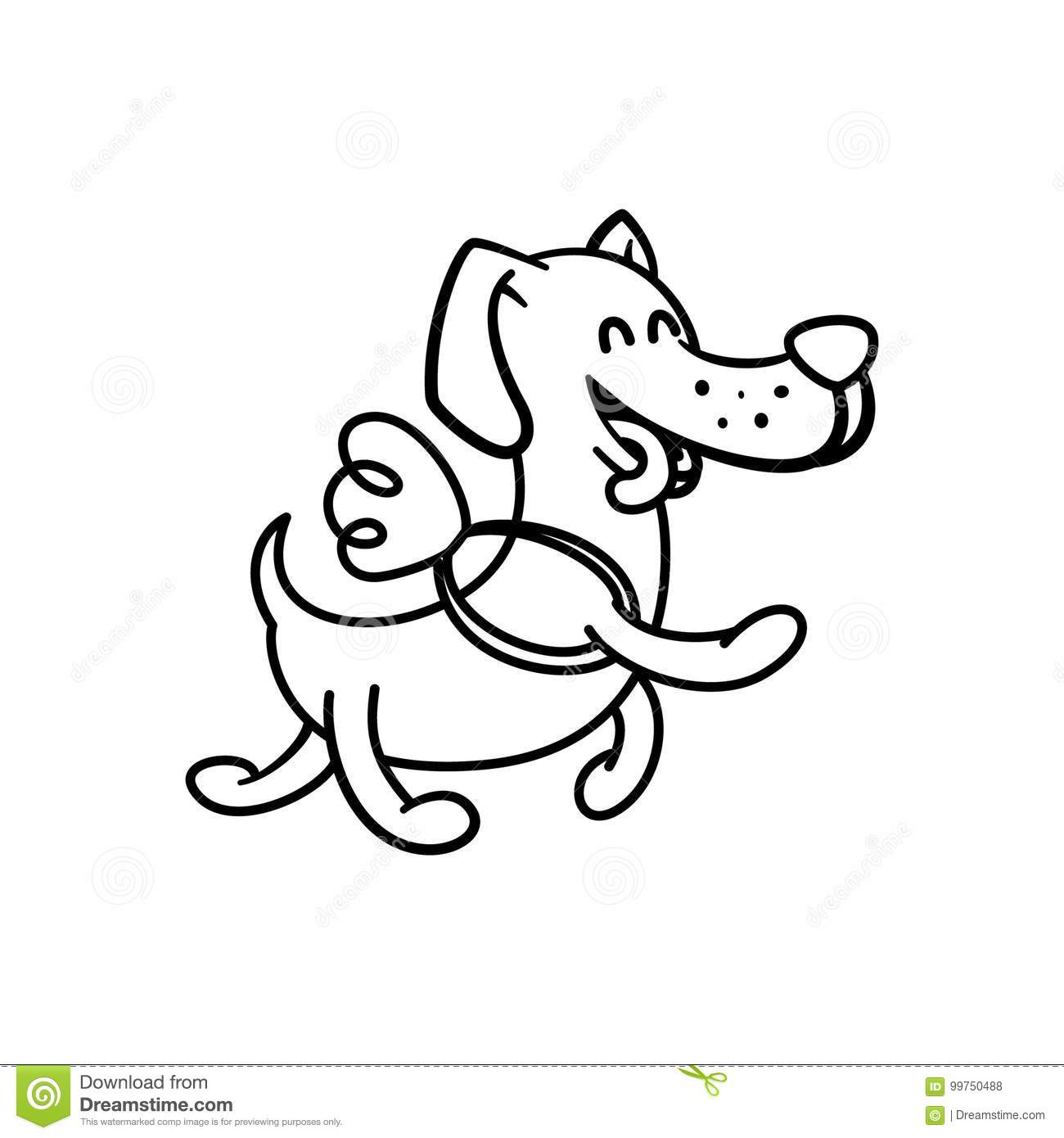 Dachshund Coloring Book For Adults Vector Cartoon Vector