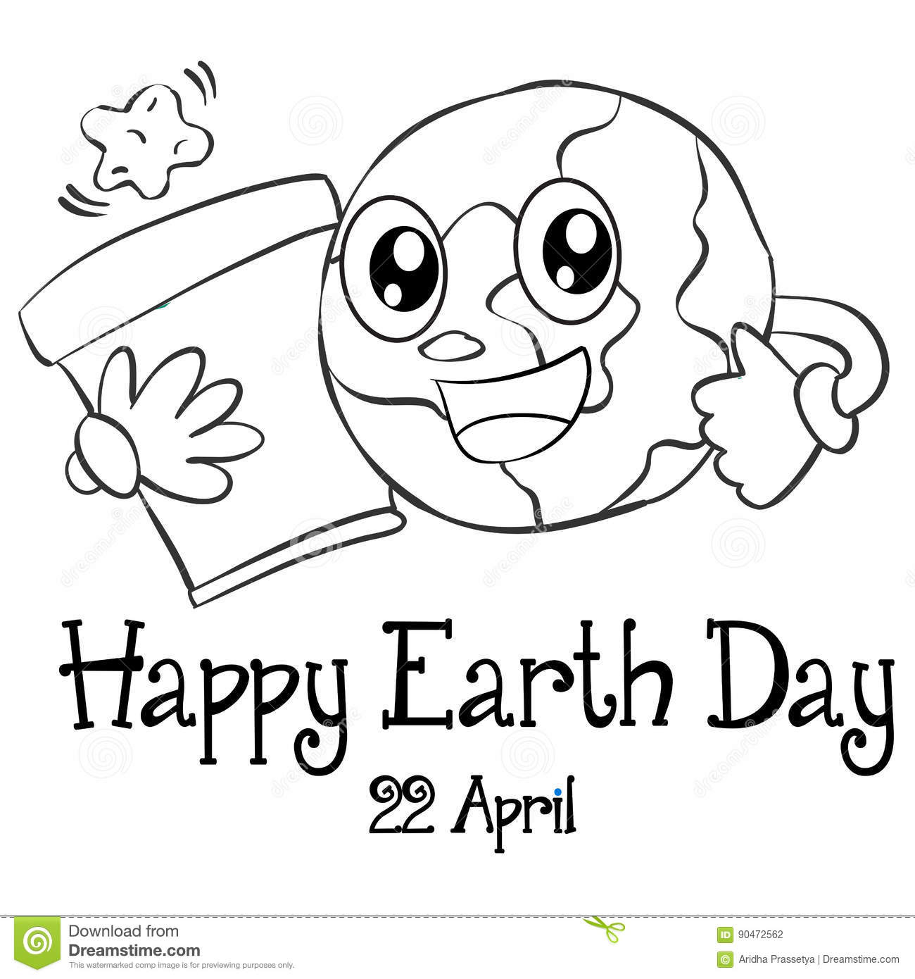 Happy Earth Day Design Hand Draw Stock Vector