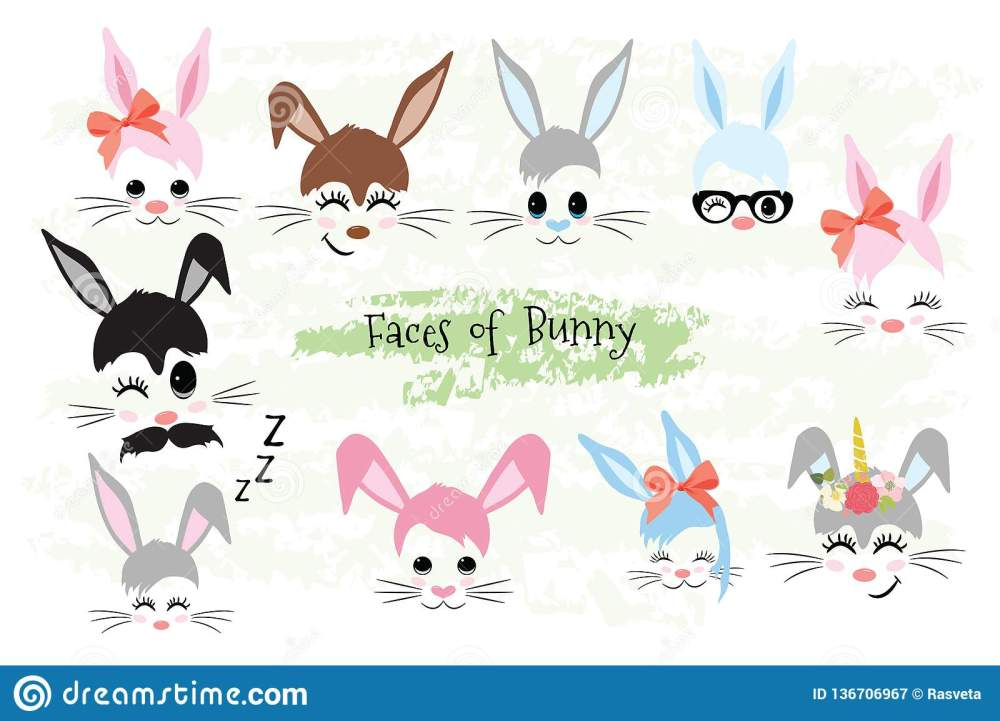 medium resolution of happy easter bunny face clipart brown gray blue pink purple violet bunny animal hipster unicorn little mister miss easter gift
