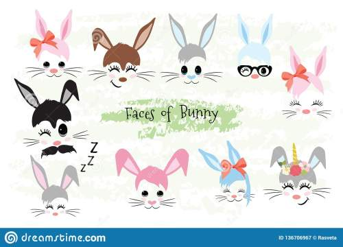 small resolution of happy easter bunny face clipart brown gray blue pink purple violet bunny animal hipster unicorn little mister miss easter gift