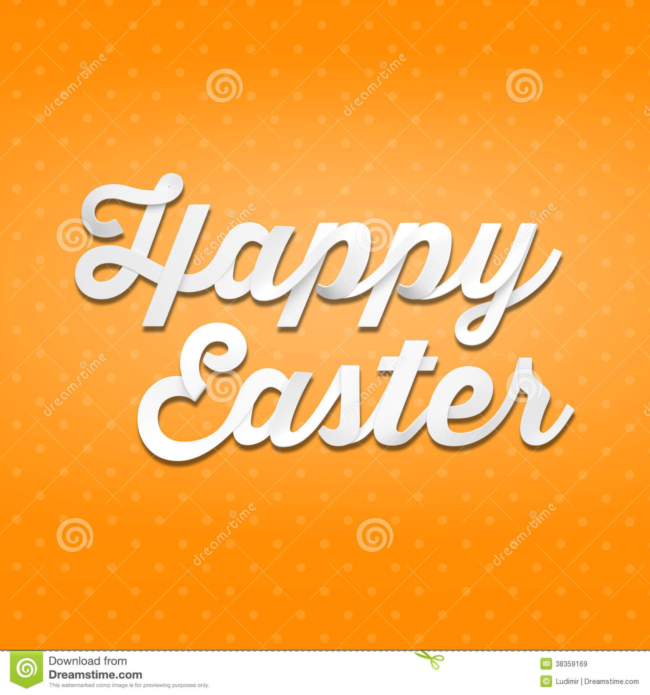 Happy Easter 3D Handwriting Type On Patern Background