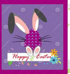 happy easter funny eggs clipart card on the purple background background with colorful flowers rabbit ears easter greeting card easter egg [ 1312 x 1300 Pixel ]