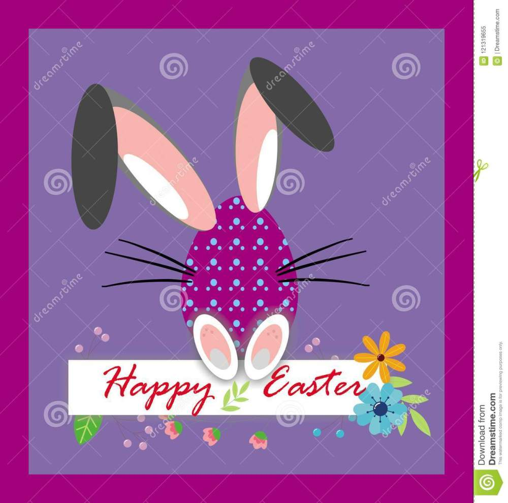 medium resolution of happy easter funny eggs clipart card on the purple background background with colorful flowers rabbit ears easter greeting card easter egg