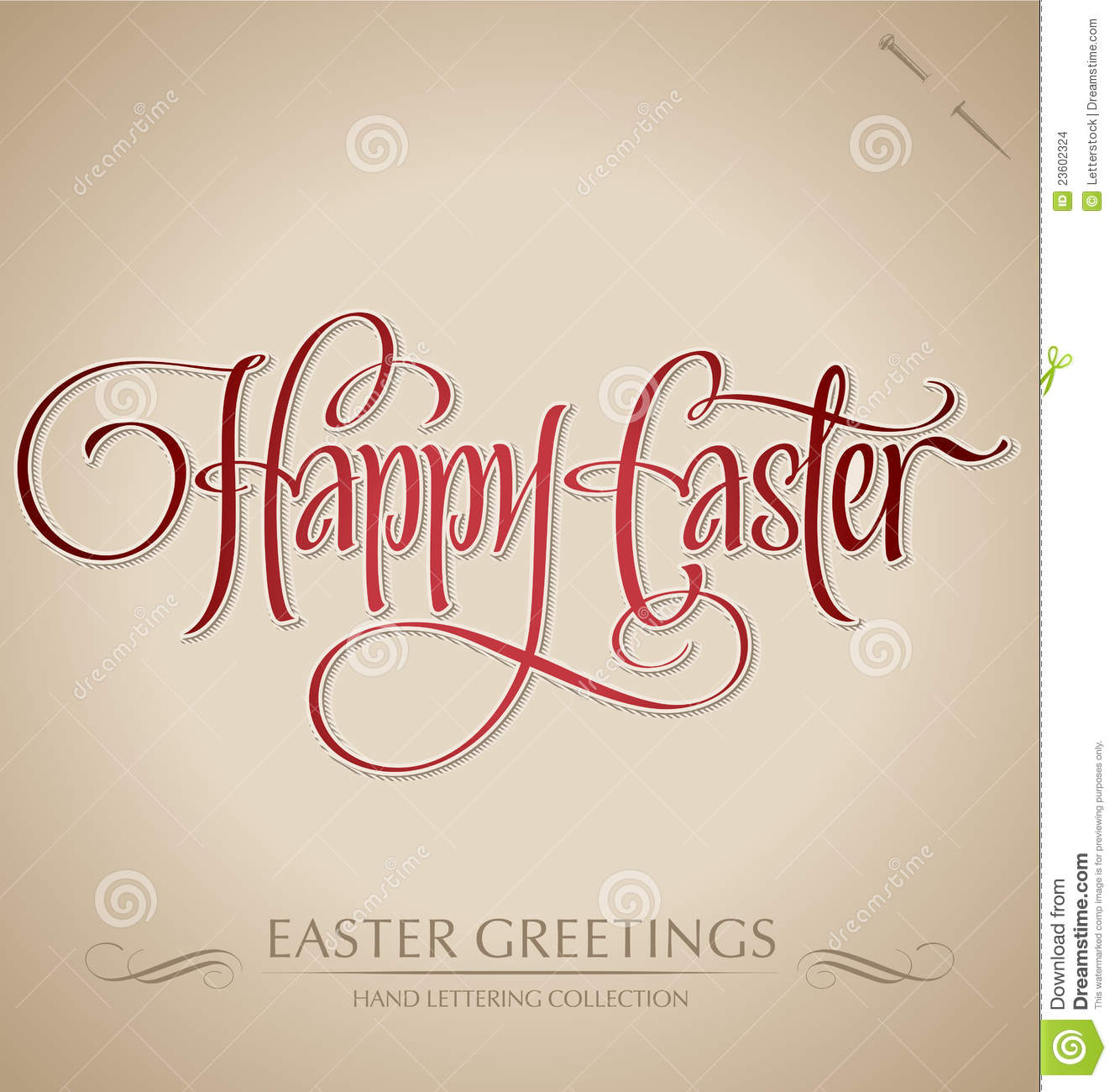 Happy Easter Hand Lettering Vector Stock Images Image 23602324