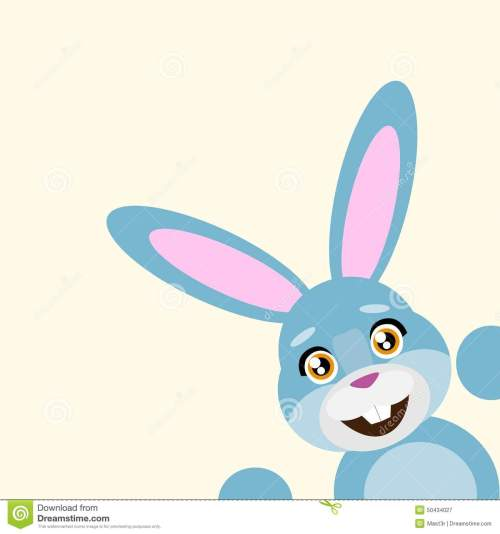 small resolution of happy easter rabbit smile peep looking from corner vector illustration stock illustration