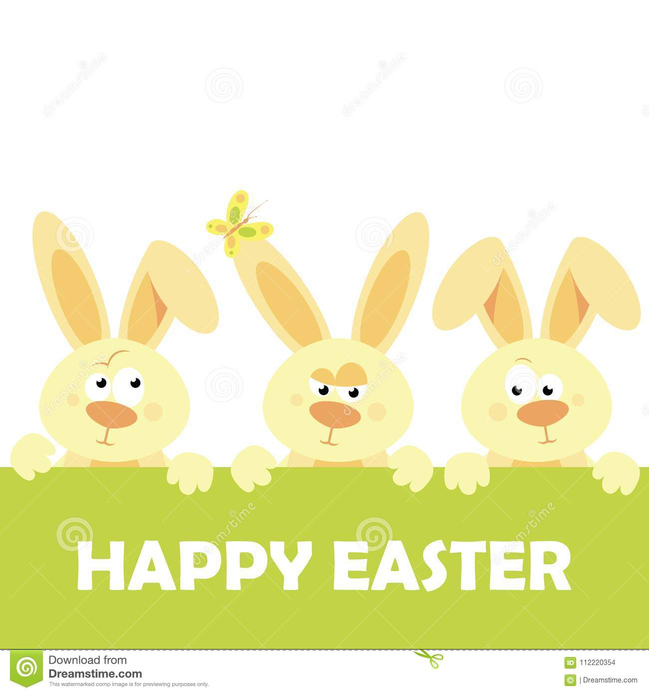 Download Happy Easter Vector Design With Cute Rabbit Characters -  Advertising Poster Or Flyer Template With