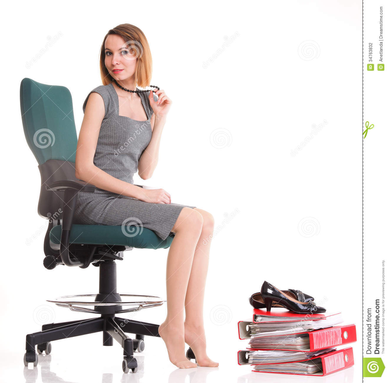 Girls Office Chair Happy Excited Young Businesswoman Relaxing In Office