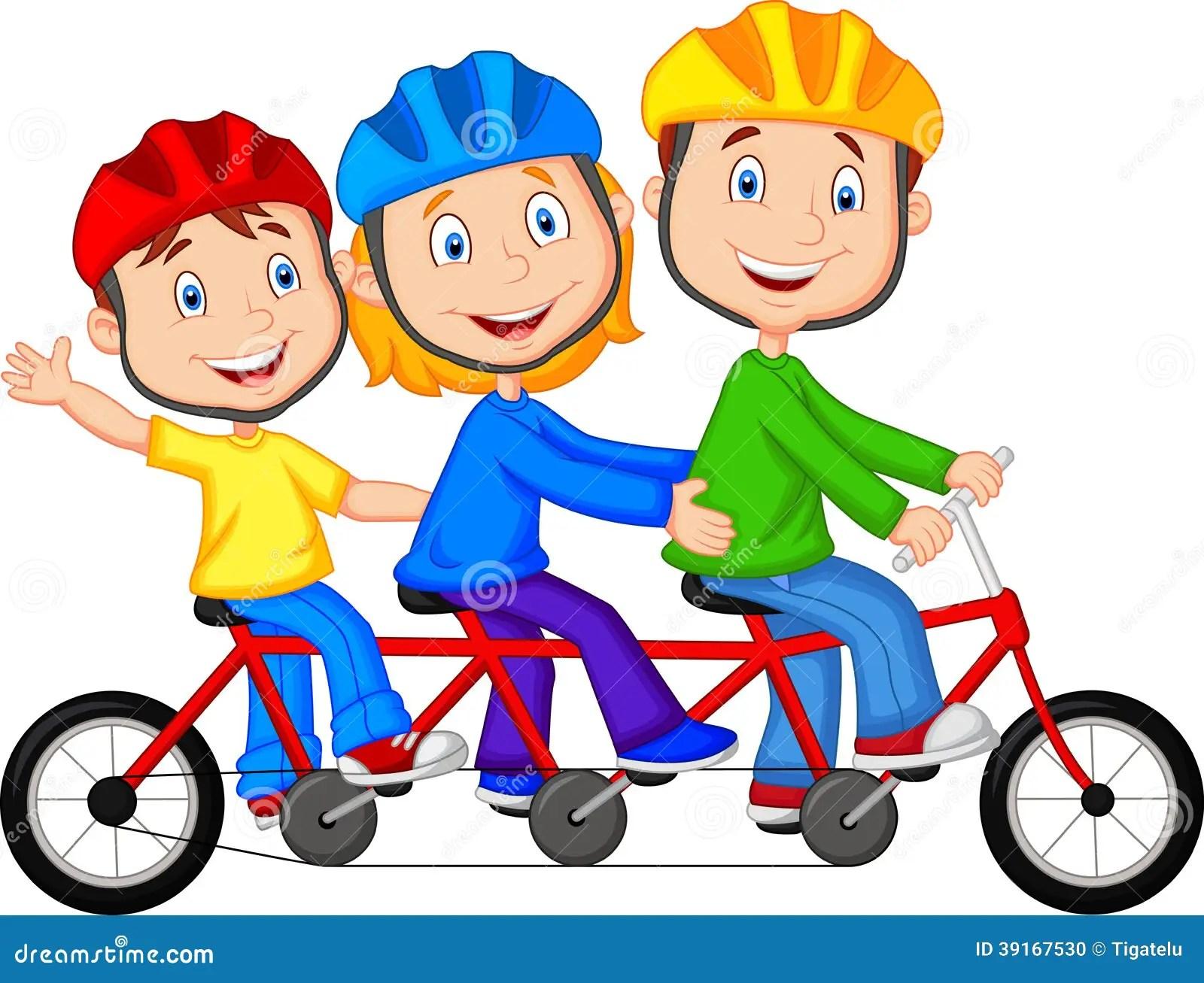 happy family cartoon riding