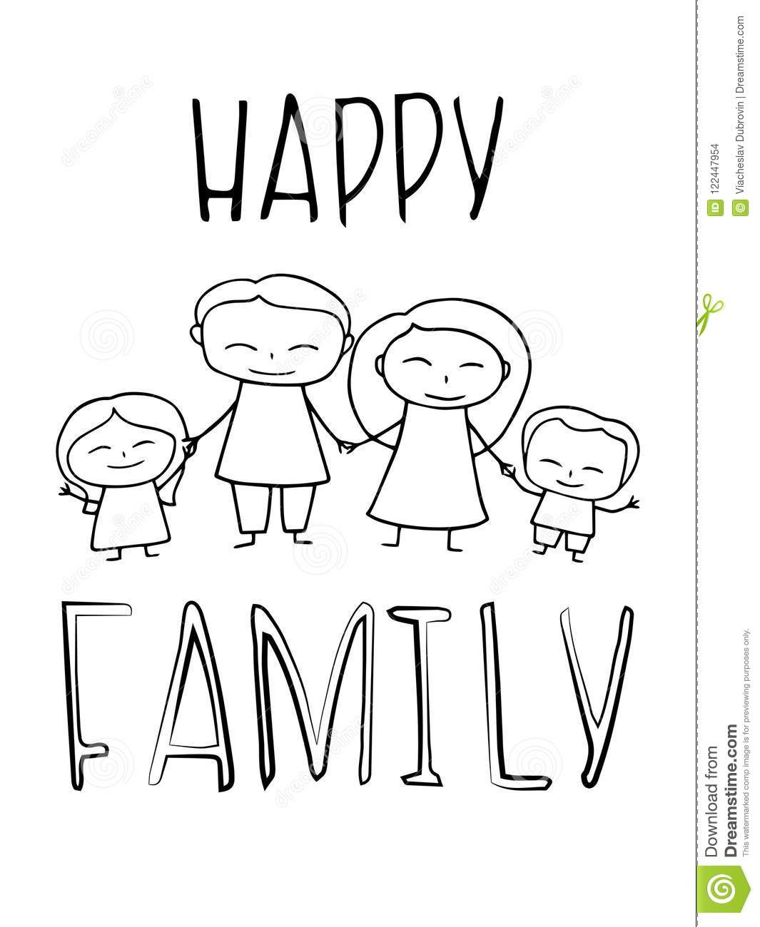 Happy Family Coloring Vector Illustration Smiling Family