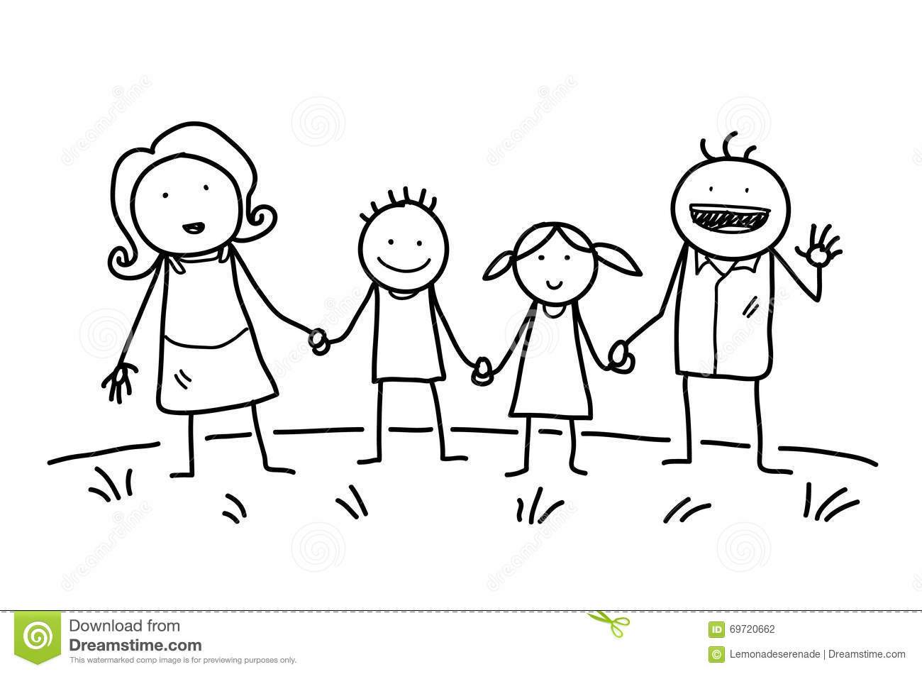 Happy Family Doodle Stock Vector Illustration Of Cartoon