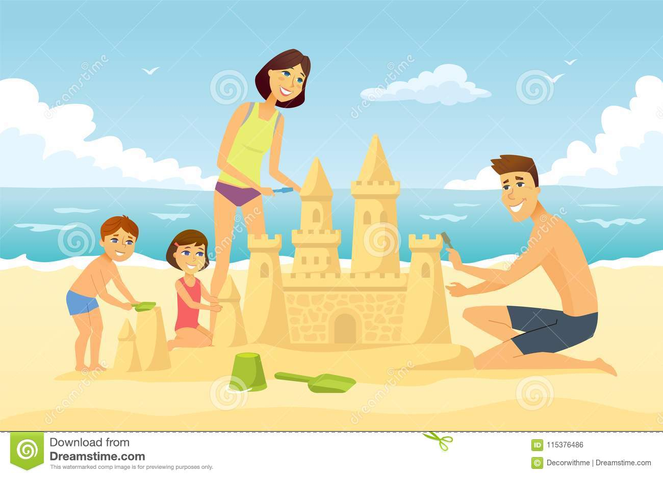 Happy Family On Vacation Cartoon People Character Illustration Stock Vector Illustration Of Background Male 115376486