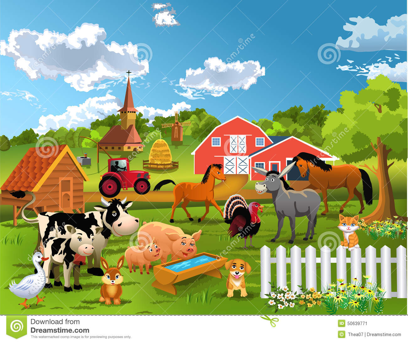 Vegetable Garden In Fall Wallpaper Happy Farm Animals Stock Vector Image 50639771