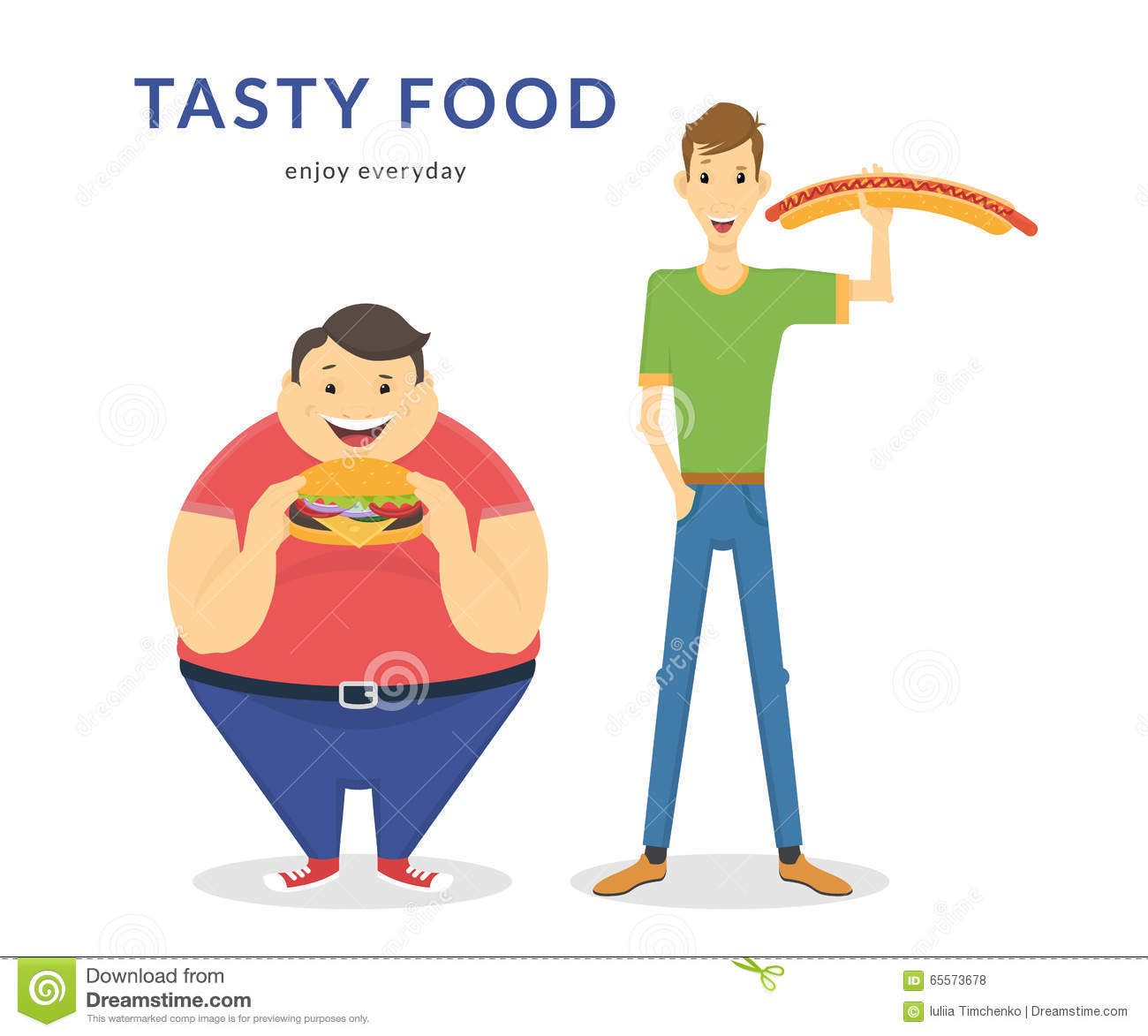 Happy Fat And Thin Men Eating A Big Food Stock Vector